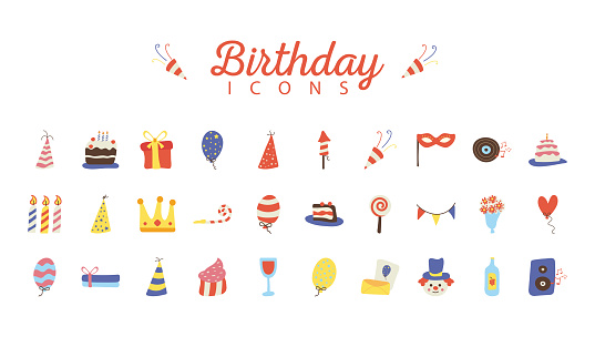 bundle of thirty happy birthday celebration flat style icons and lettering