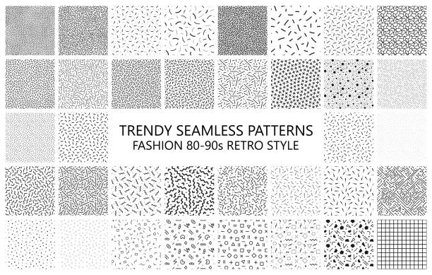 bundle of trendy mosaic seamless patterns. fashion 80-90s. black and white textures - бесшовный узор stock illustrations