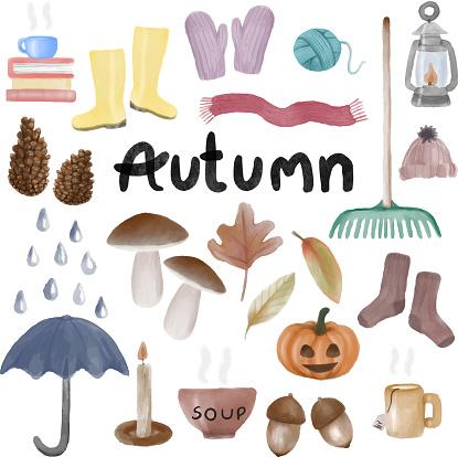 Bundle of various cozy autumn feel items.