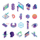 bundle of virtual reality technology icons vector illustration design