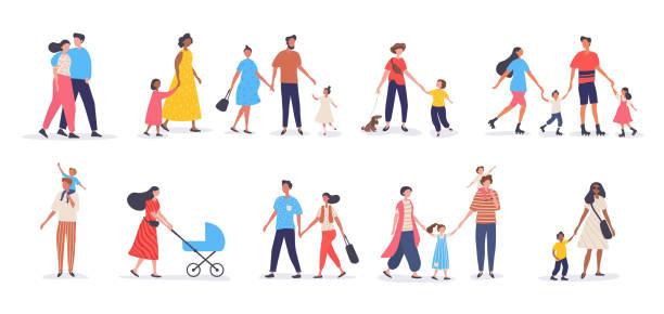 ilustrações de stock, clip art, desenhos animados e ícones de bundle of walking families - family