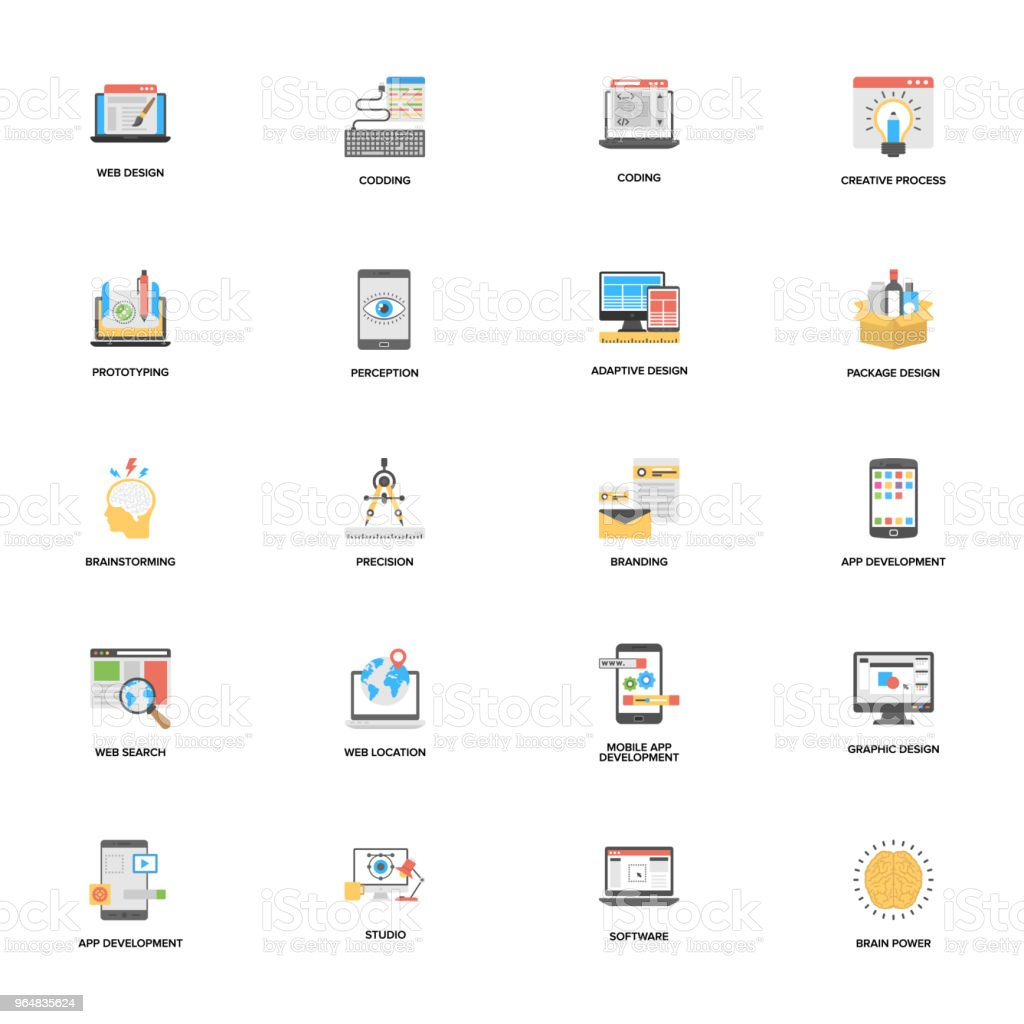 Bundle of Web and Mobile Application Development Vector Icons royalty-free bundle of web and mobile application development vector icons stock vector art & more images of brainstorming