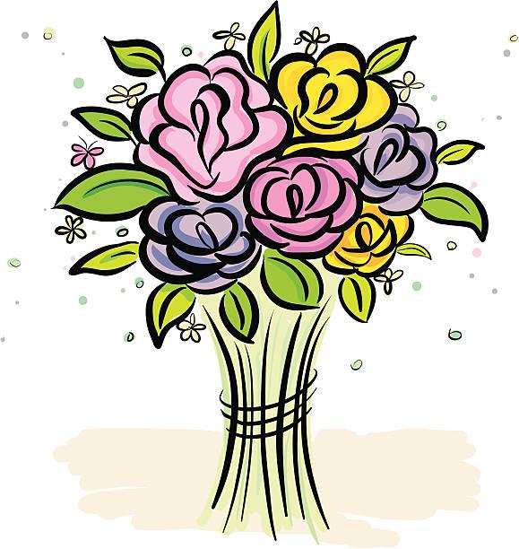 bundle rose vector art illustration