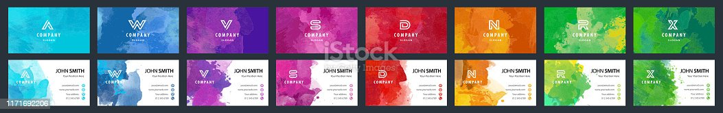 istock Bundle set of colorful business card templates with watercolor background 1171692206