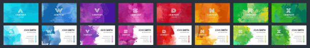 Bundle set of colorful business card templates with watercolor background Big set of bright colorful business card template with vector watercolor background business cards templates stock illustrations