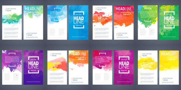 Bundle set of design templates with colorful watercolor backgrounds Big set of brochure layout, flyer cover design template with colorful watercolor backgrounds blue borders stock illustrations