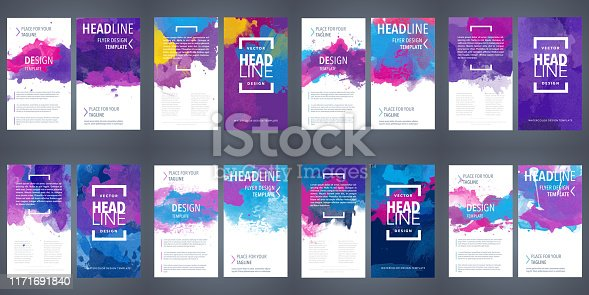 Big set of brochure layout, flyer cover design template with colorful watercolor backgrounds