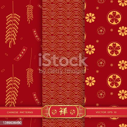Bundle set of red Chinese seamless pattern with texts mean happy new year and auspicious