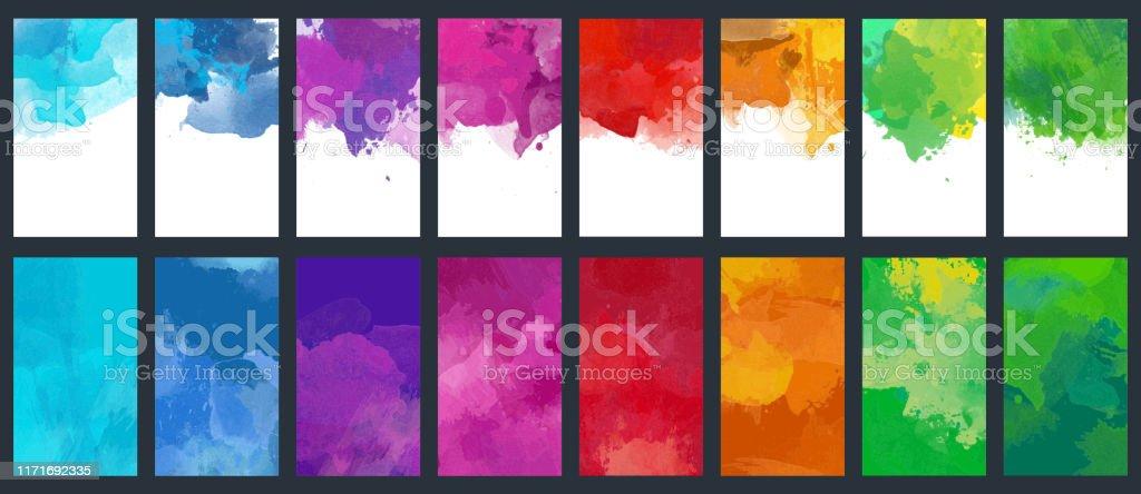 Bunt uppsättning av vektor färgglada akvarell bakgrunds mallar - Royaltyfri Abstrakt vektorgrafik