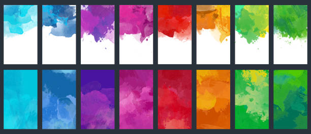 zestaw zestaw wektorowych kolorowych szablonów tła akwareli - grupa przedmiotów stock illustrations