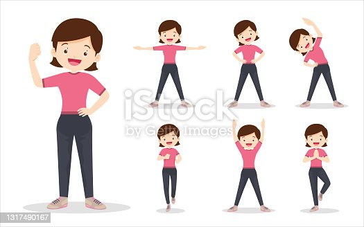 bundle set of woman on exercise various actions