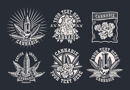 Bundle vector illustrations on cannabis theme for dark background.
