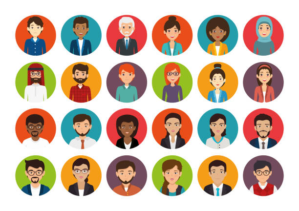 bundle with set of face business people vector art illustration