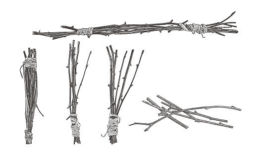 Bundles of twigs wrapped with raffia