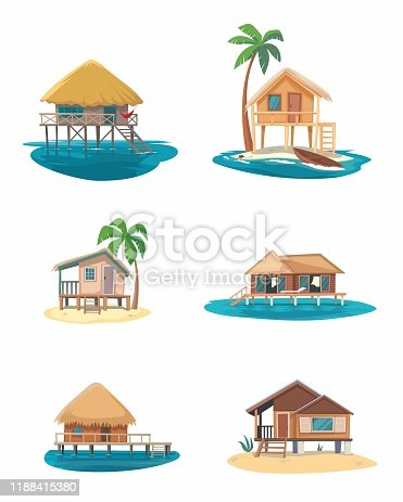 Illustration of The Tropical house on white background