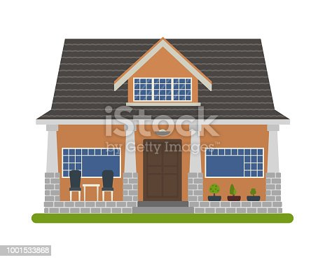 Modern Bungalow style house. Vector illustration of a tourist house for rent, sale, booking and living, isolated on white background.