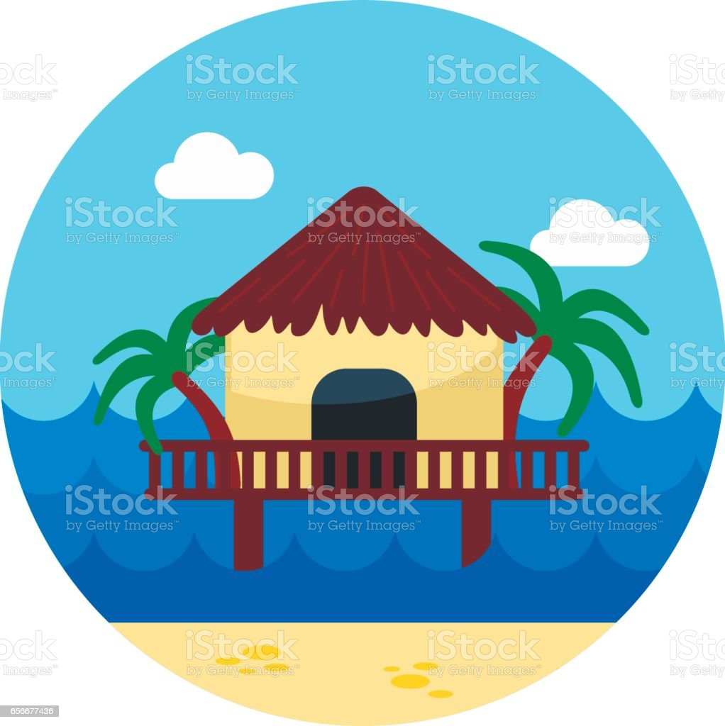 Bungalow with palm trees icon. Summer. Vacation vector art illustration