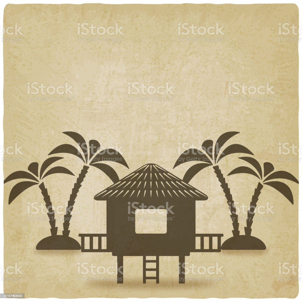 bungalow with palm trees old background vector art illustration