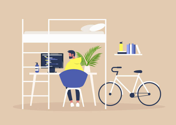 bunk bed and a desk, home office interior, millennial freelancer lifestyle, young male character working remotely at their apartment - working from home stock illustrations