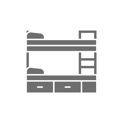 Bunk bed grey icon. Isolated on white background
