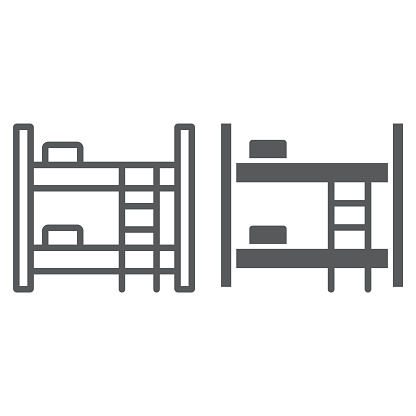 Bunk bed line and glyph icon, furniture and home, bed sign, vector graphics, a linear pattern on a white background.