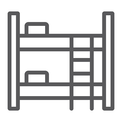 Bunk bed line icon, furniture and home, bed sign, vector graphics, a linear pattern on a white background.