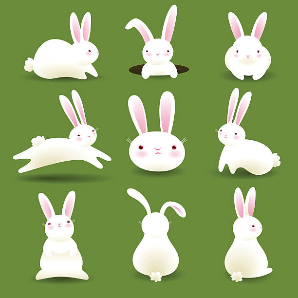 Bunnies on Grass EPS8 vector art illustration