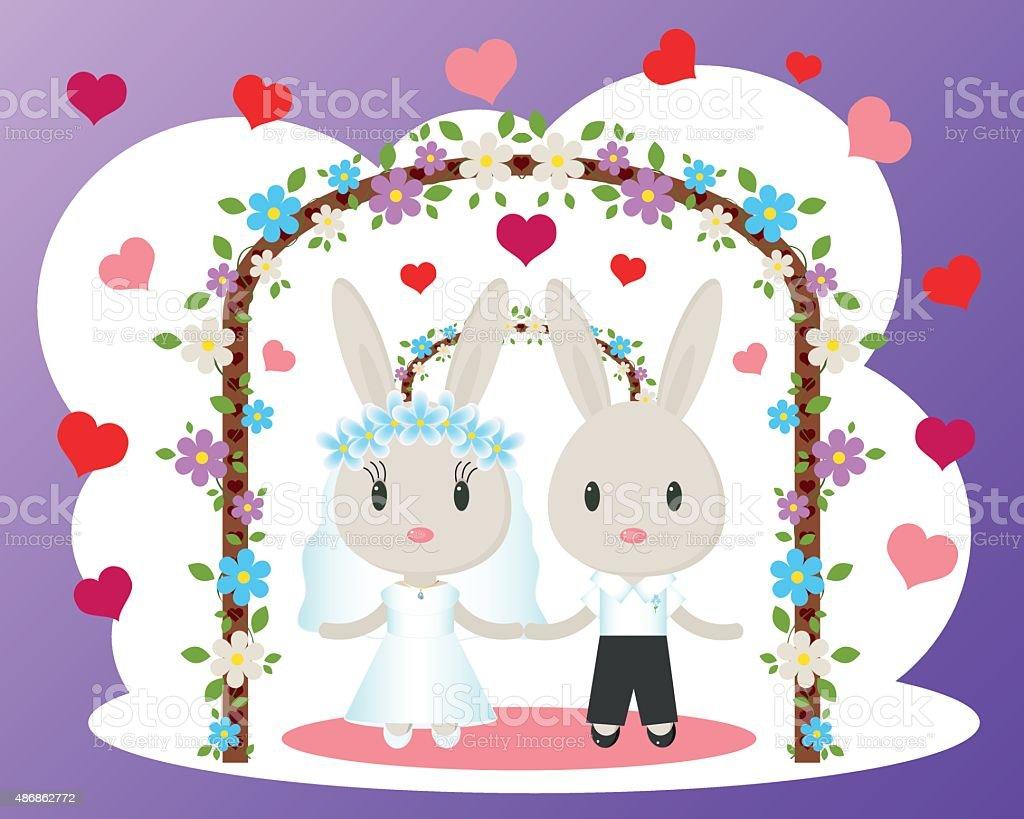 Bunnies wedding card vector vector art illustration