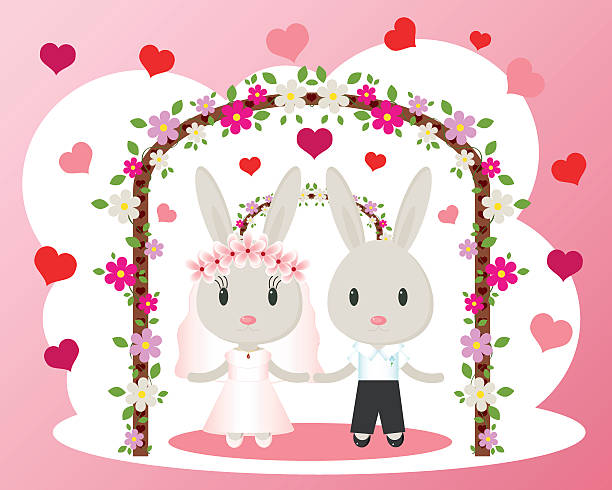 illustrations, cliparts, dessins animés et icônes de lapins de carte de mariage de vecteur - réception en plein air