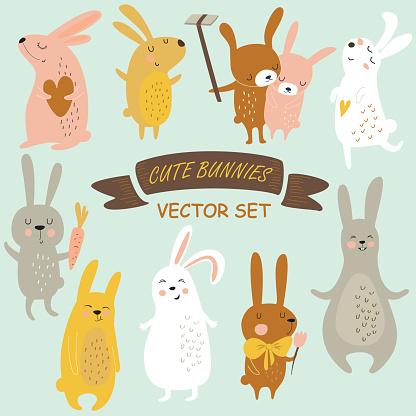 Bunniesvectorset Stock Illustration - Download Image Now