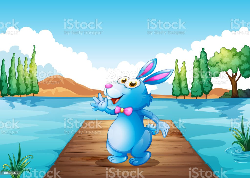 bunny above the wooden bridge at river royalty-free stock vector art