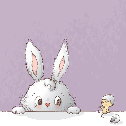 Bunny and broken Easter egg