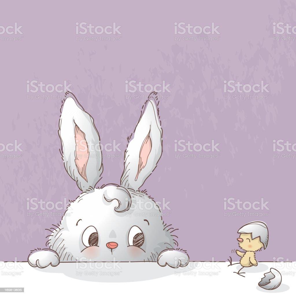 Bunny and broken Easter egg vector art illustration