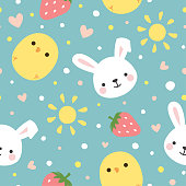 Cartoon Bunny and Cute Chick Seamless Pattern, Easter or Kid Vector Illustration Background with Strawberry