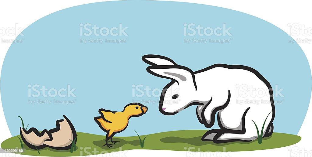 Bunny y pollo ilustración de bunny y pollo y más banco de imágenes de animal libre de derechos
