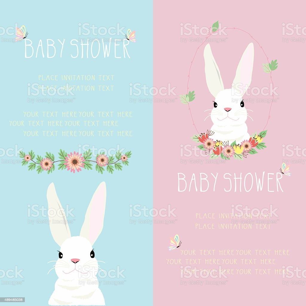 Bunny Baby Shower Stock Vector Art More Images Of Animal 489485038
