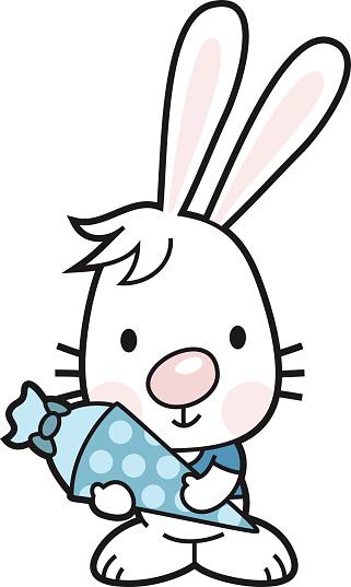 bunny boy with school cone