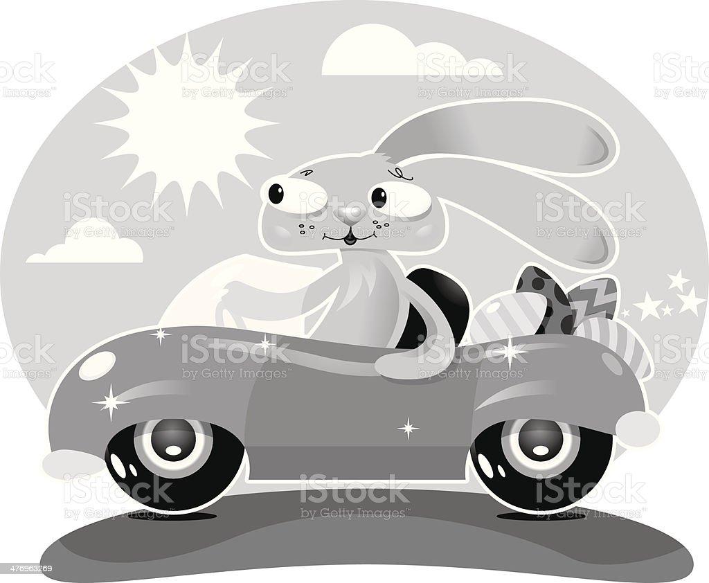 Bunny Car Eggs royalty-free stock vector art