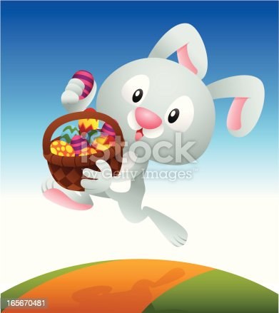 Bunny run with a basket fill with Easter egg.
