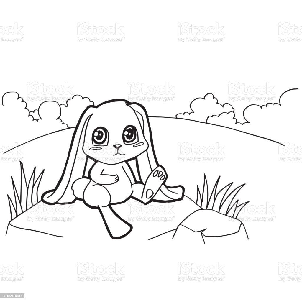Bunny Cizgi Film Boyama Sayfalari Vektor Stok Vektor Sanati