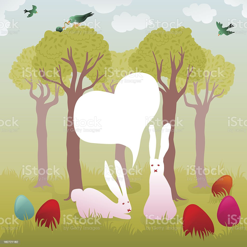 bunny couple in a garden full of colorful easter eggs vector art illustration