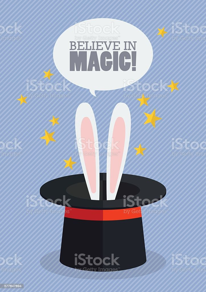 Bunny ears in magician hat vector art illustration