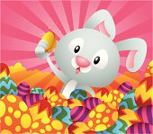 Bunny found a golden egg among the Easter eggs.