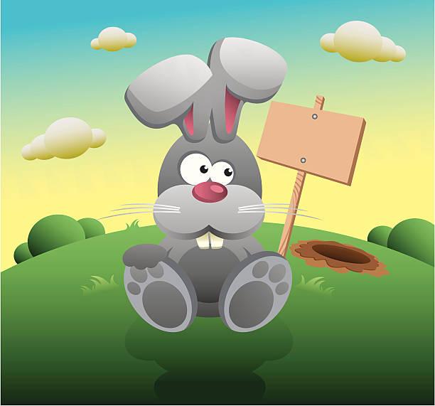 hase-schild - kaninchenbau stock-grafiken, -clipart, -cartoons und -symbole