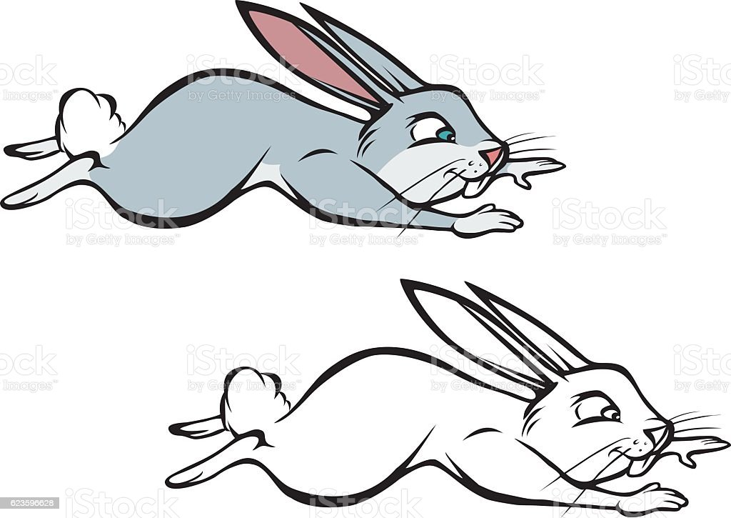 Bunny Hopping Coloring Book Stock Illustration - Download ...