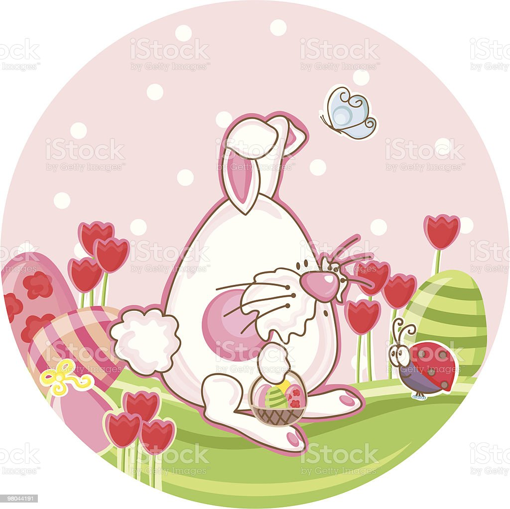 bunny in a tulip field royalty-free bunny in a tulip field stock vector art & more images of animal
