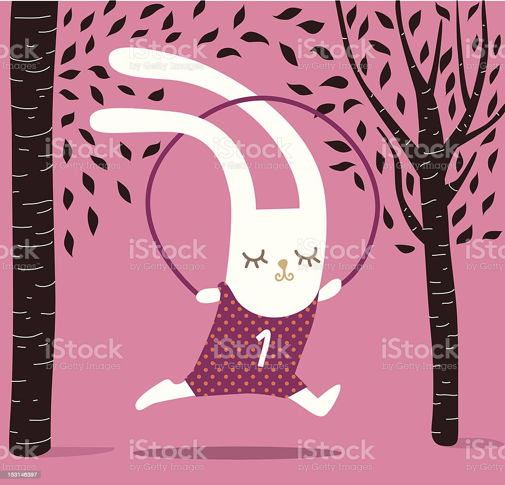Bunny jumping on a rope royalty-free stock vector art