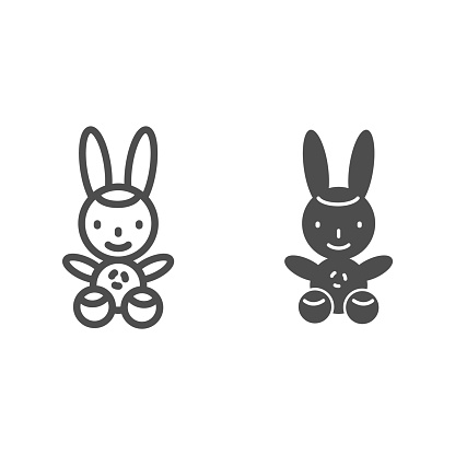 Bunny line and solid icon, Kids toys concept, Rabbit toy sign on white background, Plush toy bunny icon in outline style for mobile concept and web design. Vector graphics.