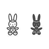 istock Bunny line and solid icon, Kids toys concept, Rabbit toy sign on white background, Plush toy bunny icon in outline style for mobile concept and web design. Vector graphics. 1255827016
