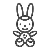 Bunny line icon, Kids toys concept, Rabbit toy sign on white background, Plush toy bunny icon in outline style for mobile concept and web design. Vector graphics